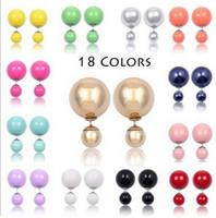 big beautiful earrings - 2016 double sided Pearl Earrings big candy ball Stud Earings Beautiful model star Fashion brand Jewelry for Women girls