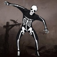 Wholesale 2016 Men Halloween Demon Cosplay Costume Sexy Skeleton Bone Bodysuit Exotic Scary Stretch Fullbody Zentai Catsuit