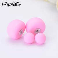 Wholesale 2 Pair New Big Mushroom Double Side Stud Earrings For Women Girls Matte Frosted Simulated Pearl Earrings Pusety Jewelry