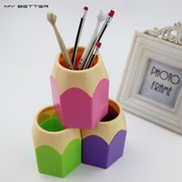 Wholesale Creative Pen Vase Pencil Pot Makeup Brush Holder Stationery Container Desk Tidy Multifunction Pen Holders Pieces