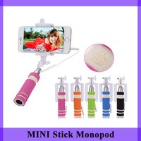 folding stick - portable Mini Wired Selfie Stick Handheld Portable Light Foam Monopod Fold Self portrait Stick Holder with Cable for Sansung S6 iphone