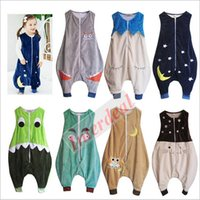 baby sleeping patterns - Baby Flannel Monster Sleeping Bags Kids Dinosaur Sleepsack Sleeveless Vest Cat Swaddle Eyelash Swaddling Owl Fox Wrap Baby Clothes B225