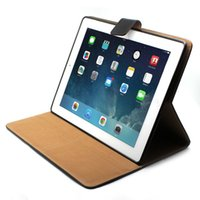 Wholesale 2016 New Luxury Real Genuine Leather case for ipad Business Style Wake Up with Stand Holder Frees hipping