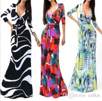 Wholesale Vintage Floral Womens Sexy V neck Long Skirt Ladies Cocktail Formal Maxi Dress Brand New Good Quality