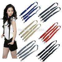 Wholesale colors Men s suspenders cm width clips no cross and Unisex Braces women suspender black for adult