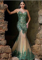 Wholesale Hot Sexy Dark Emerald Green Sequined Mermaid Evening Dresses Sweetheart Zipper Back Beaded Champagne Chapel Train Arabic Prom Gowns