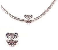 big panda - fashion Silver plated panda pendant Big Hole Loose Beads Pandora DIY Jewelry Bracelet Pendant European Beaded Bracelet Necklace accessories