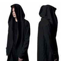 big men sweaters - Spring hooded cardigan sweater black cape coat loose fat big yards thin section gothic Men s Shirts