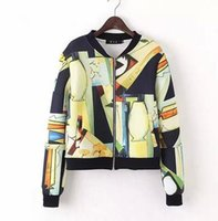 bella coat - Bella Philosophy spring summer art Graffiti full print women bomber jacket coat real photo long