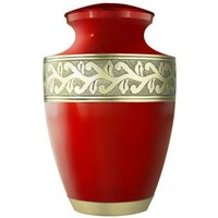 ash making - Accents Gorgeous Red Cremation Urns Funeral Urns for Human Ashes Adult Hand Made in Brass Hand Engraved Display Burial Urn