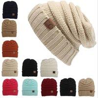 Prezzi Wool hat-Donne Uomini inverno maglia di lana Cap Unisex Folds casual etichettatura CC Berretti Cappello Hip-Hop solido di colore Skullies cappello del Beanie Gorros HJIA1001