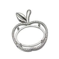 apple settings - Beadsnice Apple Semi Mount Silver Dangle Pendant Setting x19 Oval Cut Necklace Pendant Setting Cabochon Cameo Base ID