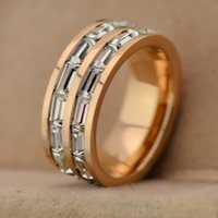 Wholesale wedding rings double row CZ diamond Rose gold Titanium steel Couple Ring Vacuum plating process Fashion Women Jewelry Accessories JZ