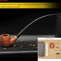 Wholesale MUXIANG quot cm Tools Kit Long Classic Rosewood Smoking Pipe for Men Metal Ring Filter Wooden Tobacco Pipe Lord of the Rings ad0008