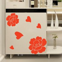 bathroom chests - high quality Creative Fashion PVC Red Flowers Removable Bedroom Wall Sticker Home Chest Sticker