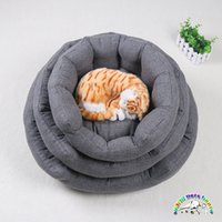 Wholesale Fashion luxury pet beds signature cotton cat bedding gray color dog sofa bed best dog beds small dog beds
