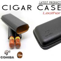 cigar humidor - COHIBA Black Orange Genuine Leather Hydrating Tube Cigar Case Mini Portable Humidor Cigarette Storage Box w Gift Box
