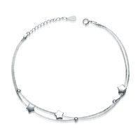 Wholesale 2016 new double chain star design sterling silver anklet cheap fashion jewelry High Quality Female Exquisite Anklets Trendy New