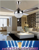 Wholesale Crystal lamp shade and W changeable light color ceiling fan light with remote control and stainless steel blade MYY
