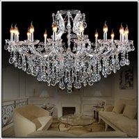 Wholesale Large Iron Pendant Light - Transparent Large crystal chandeliers Decoration fixture hotel maria theresa crystal Pendant light for lobby, foyer Hanging Lamp