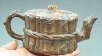 alabaster carving - Collectibles Old Handwork Alabaster Rocks Carved bamboo fence teapot Statue