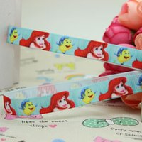 ariel bow - 3 quot mm Cartoon Happy Princess Ariel Printed Grosgrain Ribbon Girl Hair Bow DIY Decos Baby Item Craft Yards A2