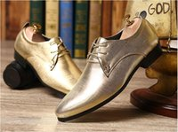 Wholesale NEW arrival Leather Oxford Shoes For Men gold silver red Casual Men Oxford Shoes Men Dress Shoes Pointed Toe Men Wedding Shoes