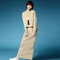 Wholesale Autumn Winter Casual Solid Cropped Sweater Women Suit Set Two Piece Knitted Embossing Sweater Pullover And Long Skirt Set A031