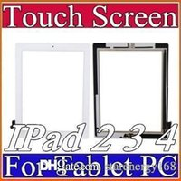Wholesale OEM Touch Screen Glass Panel with Digitizer Buttons Adhesive for iPad Black and White A TP