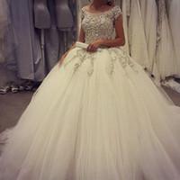 beach turkey - Luxury Off shoulder Tulle Ball Gown Wedding Dresses Turkey Royal Train Puffy Gothic Appliqued Bridal Gown Crystal Beaded Sparkly Arabic