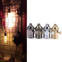 Wholesale E27 Solid Brass Lamp Socket Vintage Ceiling Light Bulb Pendant Holder Black Gold Silver Bronze Edison Lamp Holder lt no tracking