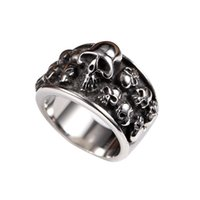 Wholesale cool men s jewelry biker punk vintage stainless steel skull ring for