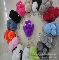bag with monkey keychain - 2016 fashion Real Mink fur keychain Cute Rabbit Doll Key Chain Charm Golf Bag Pendant Car Pendant with gift box