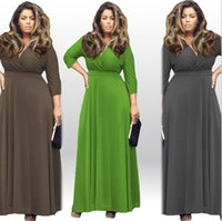 Wholesale Hot sale new woman Plus size deep v neck pure color full skirted Casual Dresses