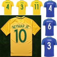 Wholesale 2017 Brazil Soccer Jersey Home Yellow Away Blue Neymar Football Shirt Jerseys Brazil Camisetas de Futbol