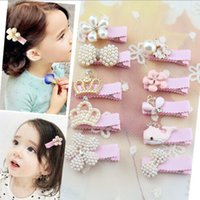 Wholesale New Girls Pink Pearls Hair Accessories Hair Clips Princess Pins With Fish Flower Bowknot Butterfly Crown Style