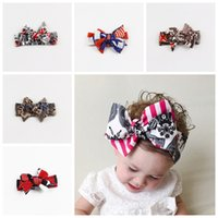 america flag colors - Europe America Baby Girls National Flag Bow Headbands Kids Children Unique Hairbands for Girls Soft comfy Hair Accessories Colors KHA383