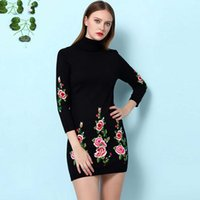 arrival turtles - New Arrival Autumn Women s Turtle Neck Long Sleeves Floral Embroidery Knitted Fashion Sheath Dresses