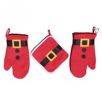 Wholesale Newest Fashion Merry Christmas Xmas Thanks Giving Oven Gloves Heat Pads Santa Style Red