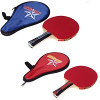 Wholesale Black Red Long Handle Shake hand Table Tennis Racket layer Wood Pingpong Paddle with Waterproof Carry Bag Pouch