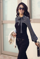 Wholesale Size S XXL Fashion Stripe Long sleeve T Shirts For Women New Black White Bow Collar Tops Tees Shirts