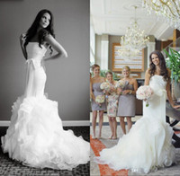 beautiful new york - 2016 New York Real Wedding Beautiful Mermaid Wedding Dresses Fit and Flare Strapless Bow Sash Zipper Back Ruched Skirt Organza Court Train