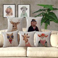 american car seat - European and American hand painted animal cat cotton Cushions sofa Koala giraffe pillow Car Seat Cushion