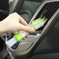 air conditioning tools - Multifunction double slider car air conditioning outlet clean brush window blinds keyboard cleaner brush household clean tool