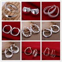 Wholesale Mix order pairs diffrent style women s sterling silver earring E61 new arrival fashion silver ear cuff earrings