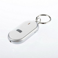 Wholesale White Smart Finder Key Locator Anti Lost Keys Chain Keychain Whistle Sound Control with LED Light