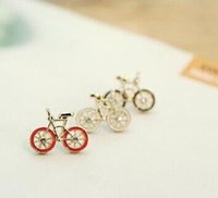 bicycle jewellery - Alloy Sport Little Bike Earrings Stud Bicycle Diamond Stud Jewellery Stud Earrings Gold Plated For Women