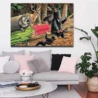 bears forest - Bears Play In Forest Broken Tree Wall Art Painting The Picture Print On Canvas Animal Pictures For Home Decor Decoration Gift