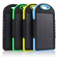 Wholesale 5000mAh Solar Charger and Battery Solar Panel portable power bank for Cell phone Laptop Camera MP4 With Flashlight waterproof Free DHL