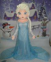 Wholesale Frozen Movie Elsa Mascot Costume frozen Princess Elsa dress Mascot Costume Adult Size Party Elsa dress cartoon princess Elsa dress